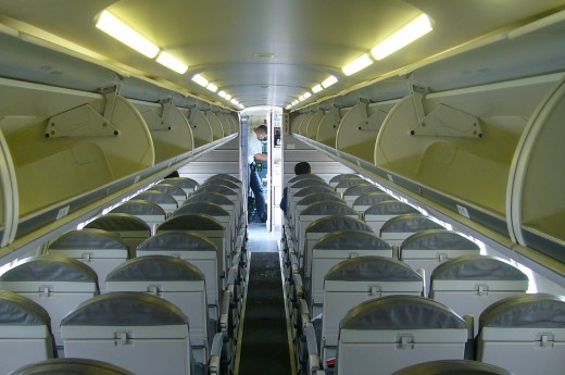 I used to fly with U.S. Airways express. The inside of a plane before boarding provides some interesting lines.