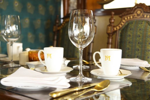 Fine Dining aboard one of the dining cars of Maharajas' Express