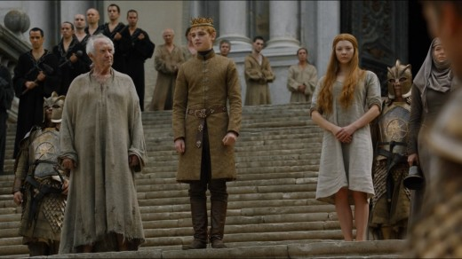 Tommen, the Child-king, is the pawn of the High Sparrow to his right and his scheming wife to his left. Can he ever truly make his own decisions? Probably not.