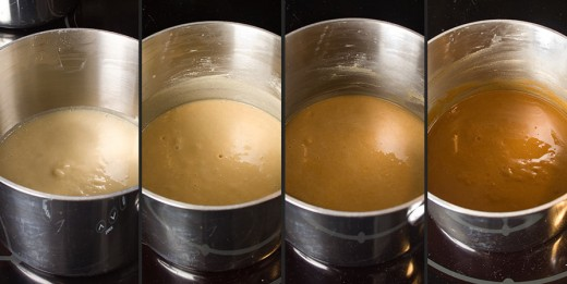 The 4 stages of roux (white thru dark brown)