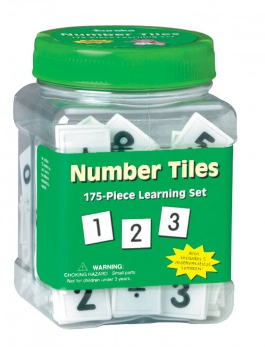 "Eureka Tub Of Number Tiles, 175 Tiles in 3 3/4"" x 5 1/2"" x 3 3/4"" Tub by Eureka - Images are from amazon.com"