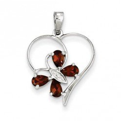 This sterling silver rhodium necklace combines a butterfly and heart shape into one interesting-looking pendant. The dark red gemstones are actually garnets.