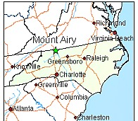 Mt. Airy, NC is located on the border of Virginia and North Carolina
