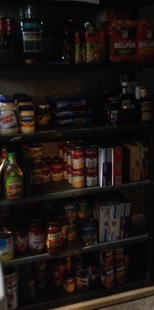 This is an example of a small-time couponer's shelf, but many big-time couponers have entire rooms, basements, and/or garages full of their stockpiles.
