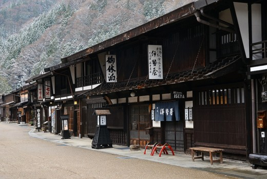 Deserted Narai in early April. Narai is one of the preserved postal towns of central Japan.