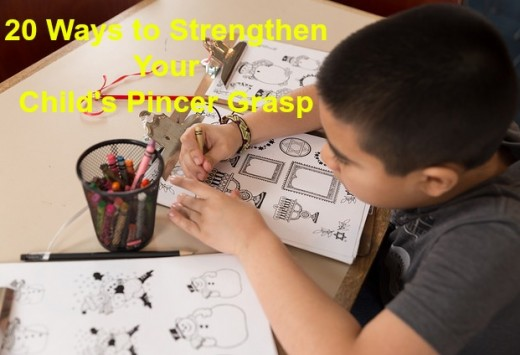 A developed pincer grasp is necessary for the everyday activities in kindergarten: coloring, writing, cutting, and drawing.