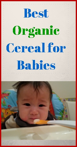 A cute baby frowns at the sight of baby rice cereal