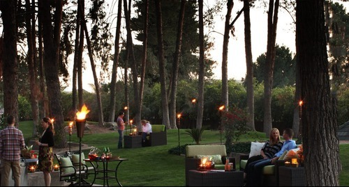 TIki torches placed outdoors for a family reunion are effectively used by spreading them out evenly.