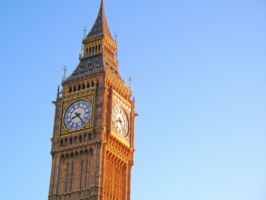 Big Ben under morning sunlight.