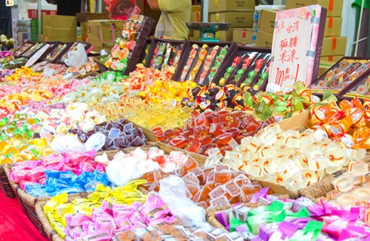 Fruit jellies store during Chinese New Year.