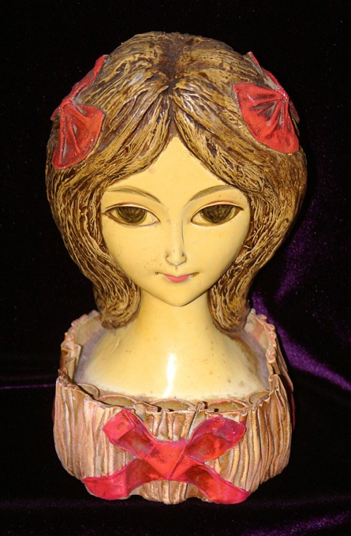 1960s Papier-mache lipstick holder girl