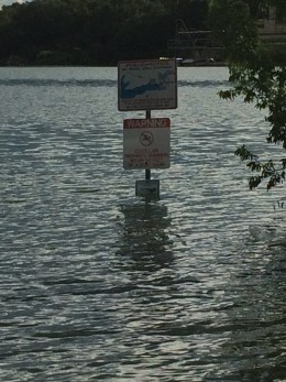 Signs fighting lake levels to be seen.