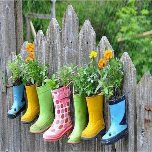 Boots repurposed as planters