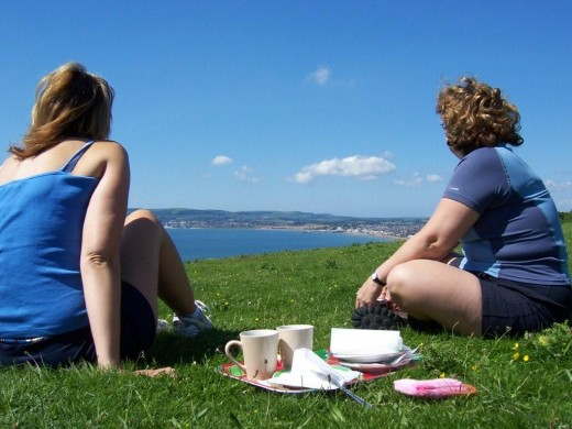 Tea and Scones overlooking Sandown