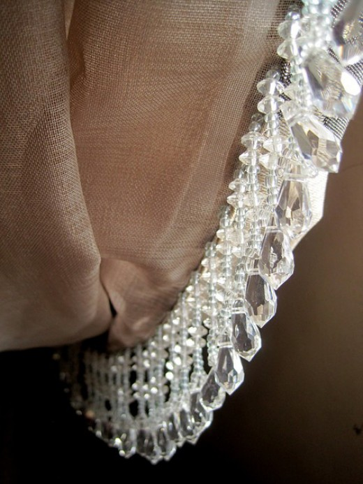 Beaded edging for curtain or use as a tie back.