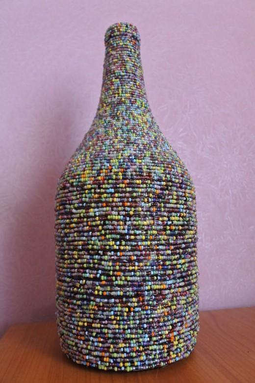 Seed beaded bottle.