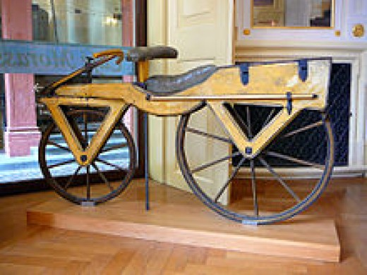 as you can see the first bicycle had no pedals.  You straddled the bike and walked with it.