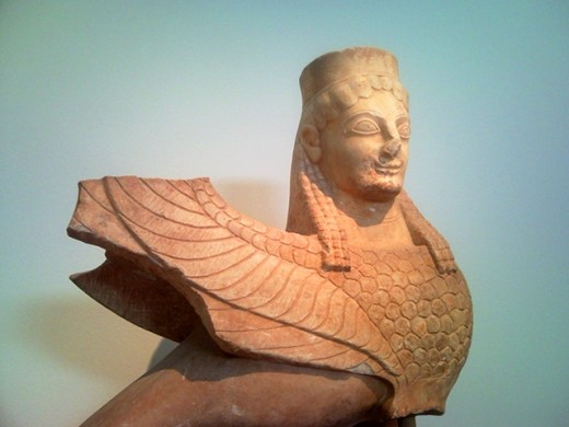 Sculpture of the Sphinx in Athens' National Archeological Museum