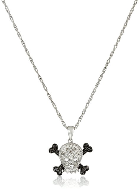 This sterling silver black and white diamond accent skull pendant necklace is a perfect decoration for those wearing glamorous and elegant Halloween costumes
