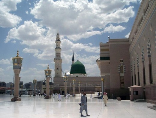 Originally constructed by the Prophet Muhammad.  It is always open, day or night.
