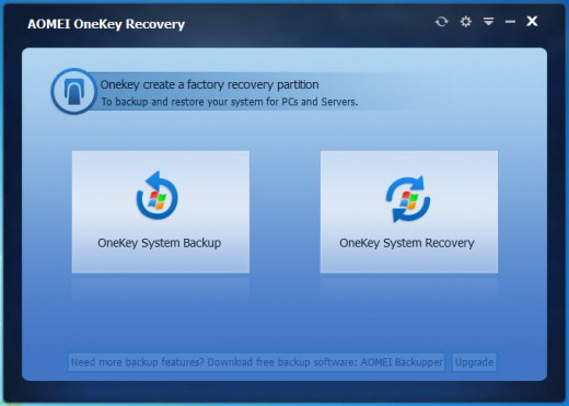Onekey Recovery can save you from disaster if you accidentaly deleted your recovery partition