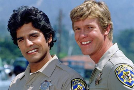 (From left), Erik Estrada, Larry Wilcox, stars of CHiPs in happier days