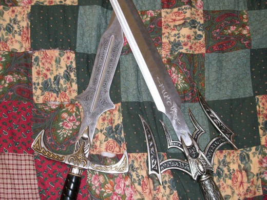 On the left; Elexorien - the Sword of  War On the Right; Luciendar -The Sword of Light I used these swords as inspiration for a novel I'm writing.