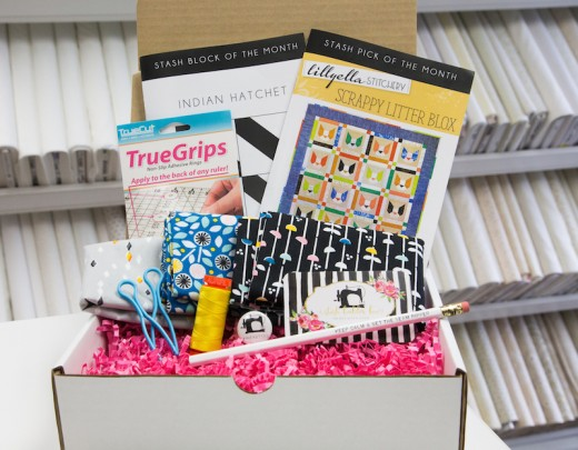 The Stash Builder Box for June. Each box has fabric, patterns, thread and is only $23.99/month plus shipping.