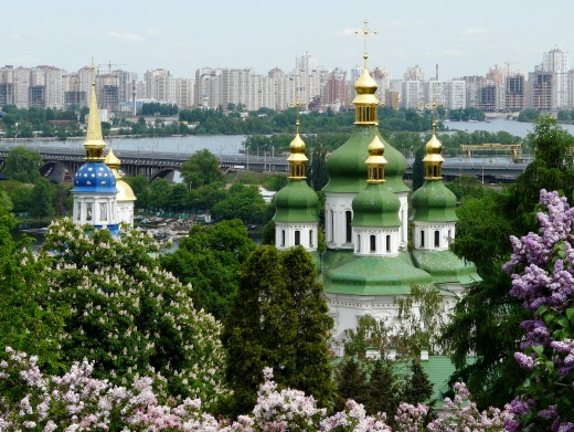 Vydubychi Monastery: Saint George Cathedral (1696-1701) and bell tower (1727-1733), Kiev, Ukraine