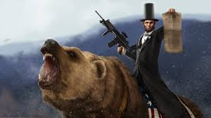 Our great leader is seen on a bear, the only known color photograph of the era, with a mysterious firearm reminiscent of a modern assault rifle.