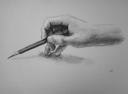 The correct way to hold your pencil... at the end.