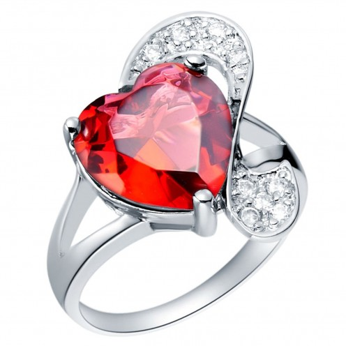 "Part of the ""Ruby Red Loving Heart"" Platinum-plated Fashion Jewelry Set with Imported Crystal Elements"