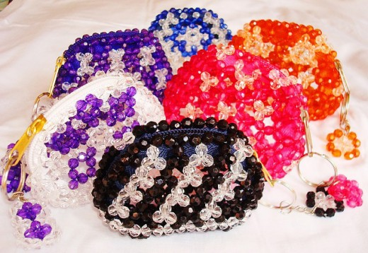 An assortment of beaded coin purses.