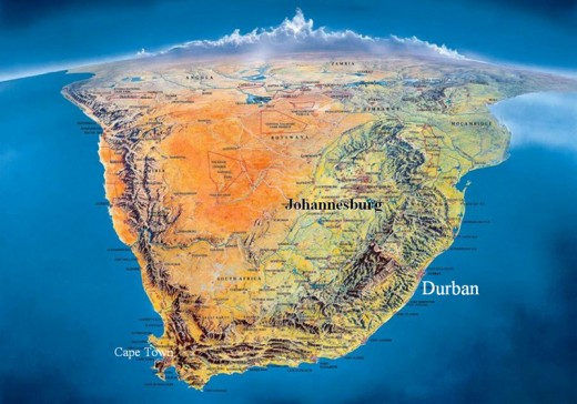 South Africa Physical Geoatlas - Countries ımages Map