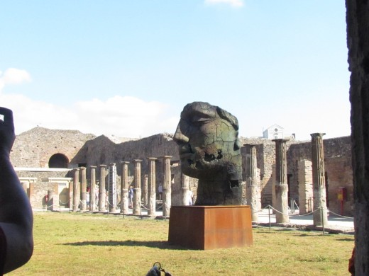 Thirty minutes from the port was the Pompeii Excavations. This is one of the large sculptures we viewed during our tour of the Archaeological Areas of Pompeii.