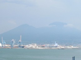 A photo taken from our balcony on the ship before we entered Naples, Italy.
