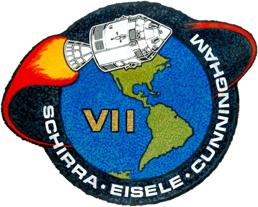 Apollo 7 mission patch for the 11-day mission, the first manned space flight to broadcast video and audio back to Earth from orbit.