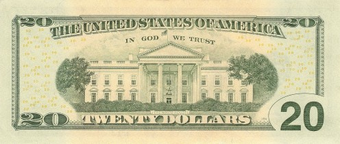 The White House on the back of the 20-dollar bill.