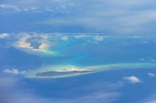 An aerial view of Kiribati
