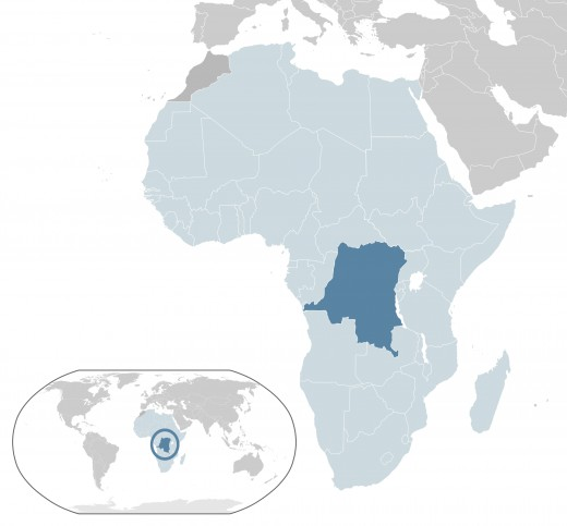 DR congo on the map(dark bue)