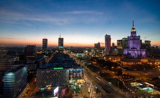 A nightview of Warsaw, Poland