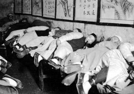 An opium den in Hong Kong
