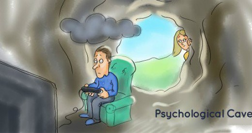 The psychological cave is where a man goes to be alone and think without distraction.
