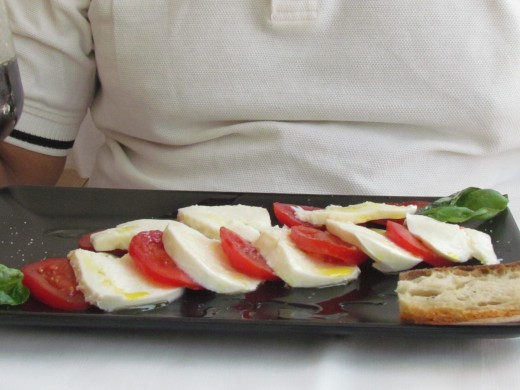 For lunch Walker had a delicious mozzarella and tomato platter.