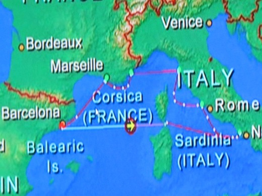 A map of the area when we arrived in Civitavecchia (Rome), Italy.