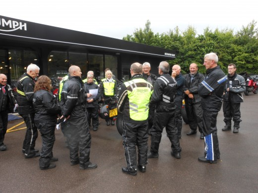Meeting at Triumph Shop before setting off on our journey to Kent.