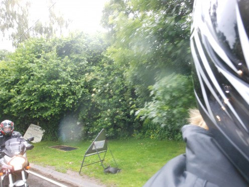 First attempt at taking the photo with the camera held at the side of my helmet facing behind! Not good...