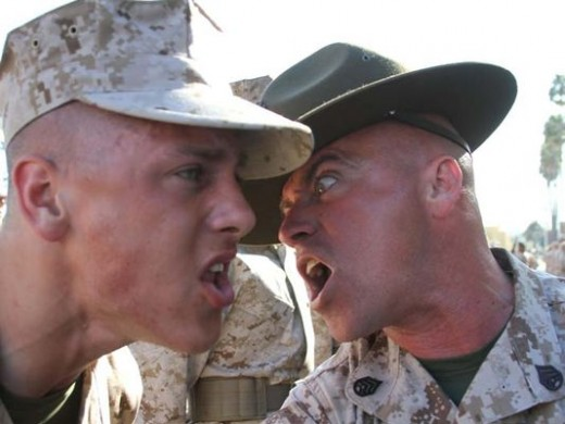 Drill Instructor reinforcement of learning objectives.
