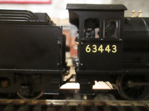 Close-up of 63443's cab in Fiddleyard A with her crew ready for the 'off'