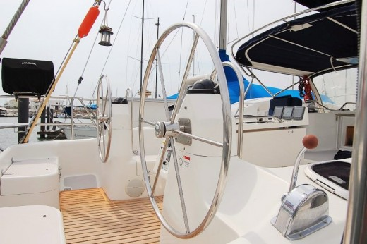 There is a LOT of stainless steel on a modern sailboat . . . LOCATION's cockpit being no exception
